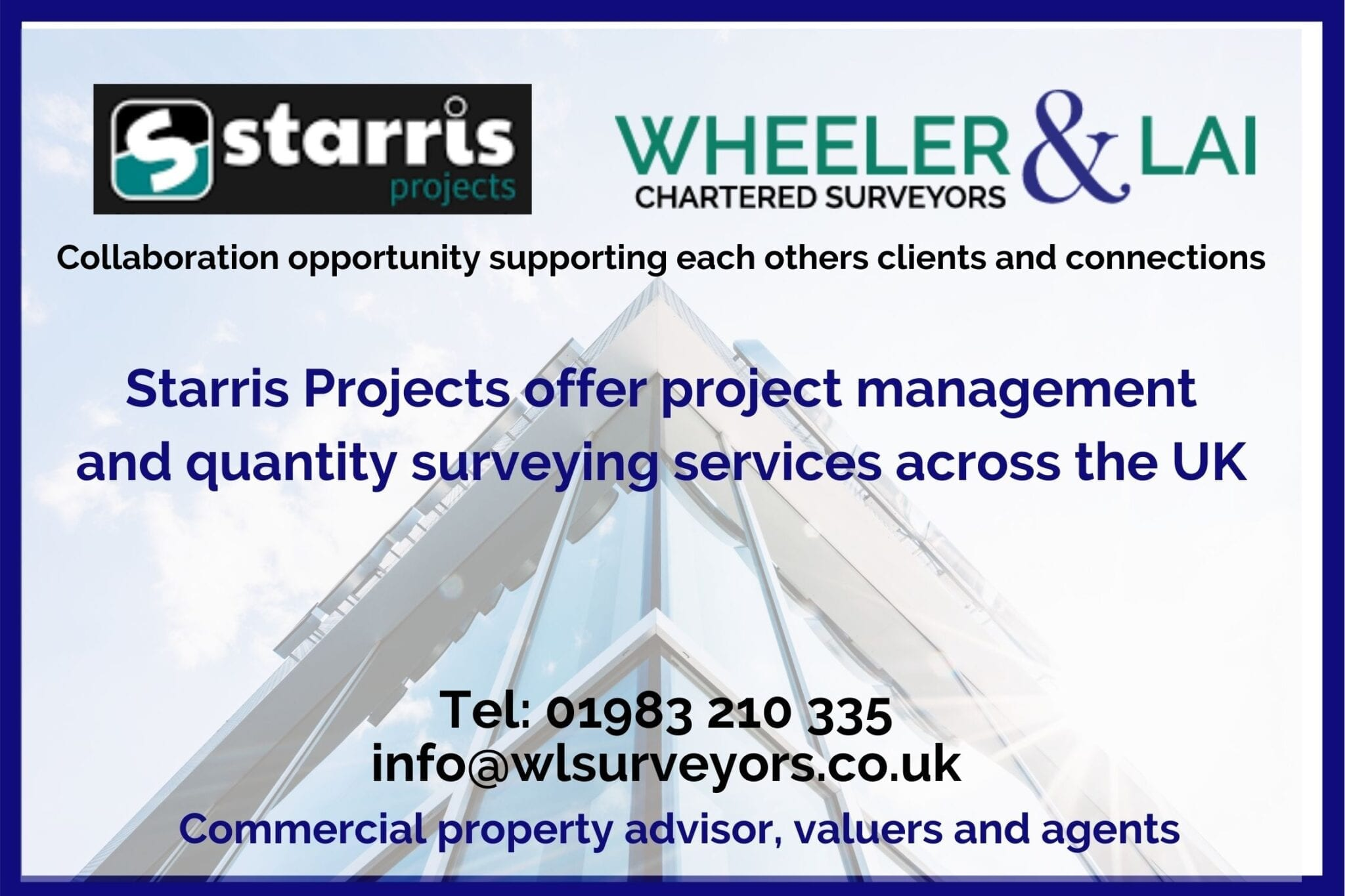 Commercial property office building with wheeler and lai and starris project logos about collaboration